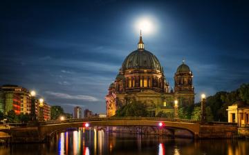 обоя города, берлин , германия, мост, собор, фонари, река