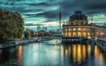 обоя города, берлин , германия, собор, вечер, мост, река