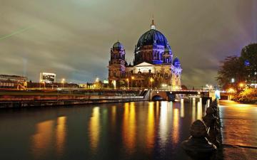 обоя города, берлин , германия, вечер, мост, река, набережная