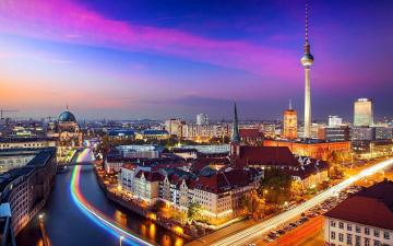 обоя города, берлин , германия, вечер, панорама, телевышка, мосты, река