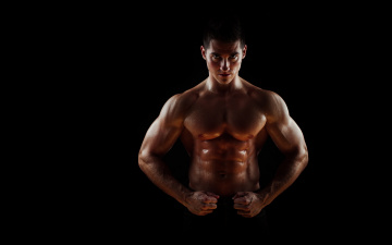 обоя мужчины, - unsort, pose, sweat, abdominals, bodybuilder, penetrating, gaze, muscular, wide, pectorals