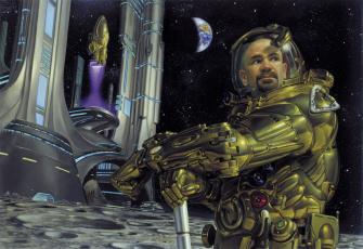 Картинка фэнтези люди поверхность земля луна астронавт планета база космическая