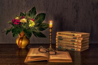 обоя разное, канцелярия,  книги, свеча, книги