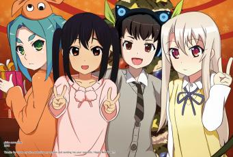 обоя аниме, unknown,  другое, фон, взгляд, девушки
