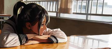 обоя аниме, unknown,  другое, девушка, фон, взгляд