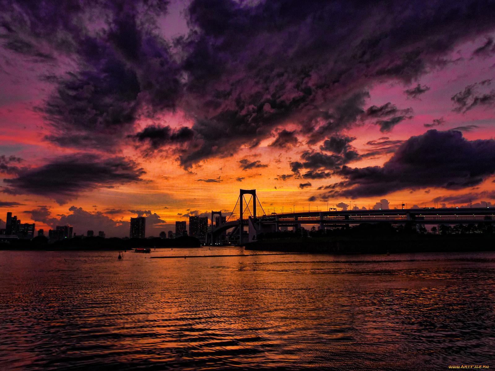 красивая картинка заката в городе находят