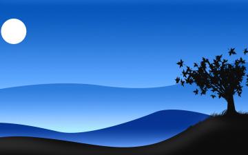 Картинка векторная+графика природа куст силуэт дерево луна ночь небо
