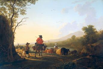 обоя рисованное, живопись, Якоб, ван, стрий, картина, пейзаж, с, пастухом, и, погонщиком, дерево, масло