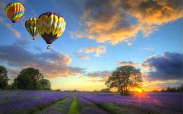 обоя авиация, воздушные шары, пол, закат, шары
