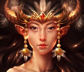 Картинка фэнтези существа лицо девушка арт перья украшения рога ушки