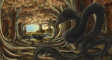 Картинка рисованное животные +сказочные +мифические девушка взгляд фон собачка лес река мост дракон