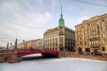 обоя с-петербург, города, санкт-петербург,  петергоф , россия, река, лед, мост, здания, машины