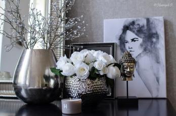 обоя интерьер, декор,  отделка,  сервировка, ваза, цветы, розы, картина, свеча