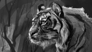 Картинка рисованное животные +тигры голова деревья