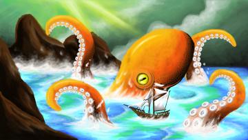 обоя рисованное, животные, осьминог, море, корабль
