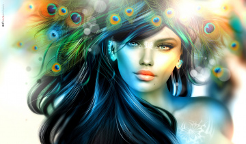 обоя 3д графика, портрет , portraits, девушка, волосы, перья