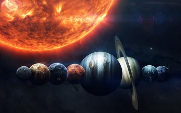 обоя космос, солнце, планеты, солнечной, системы, выстроились, в, ряд, рядом, с, солнцем