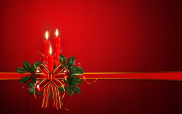 обоя праздничные, векторная графика , новый год, свечи, лента