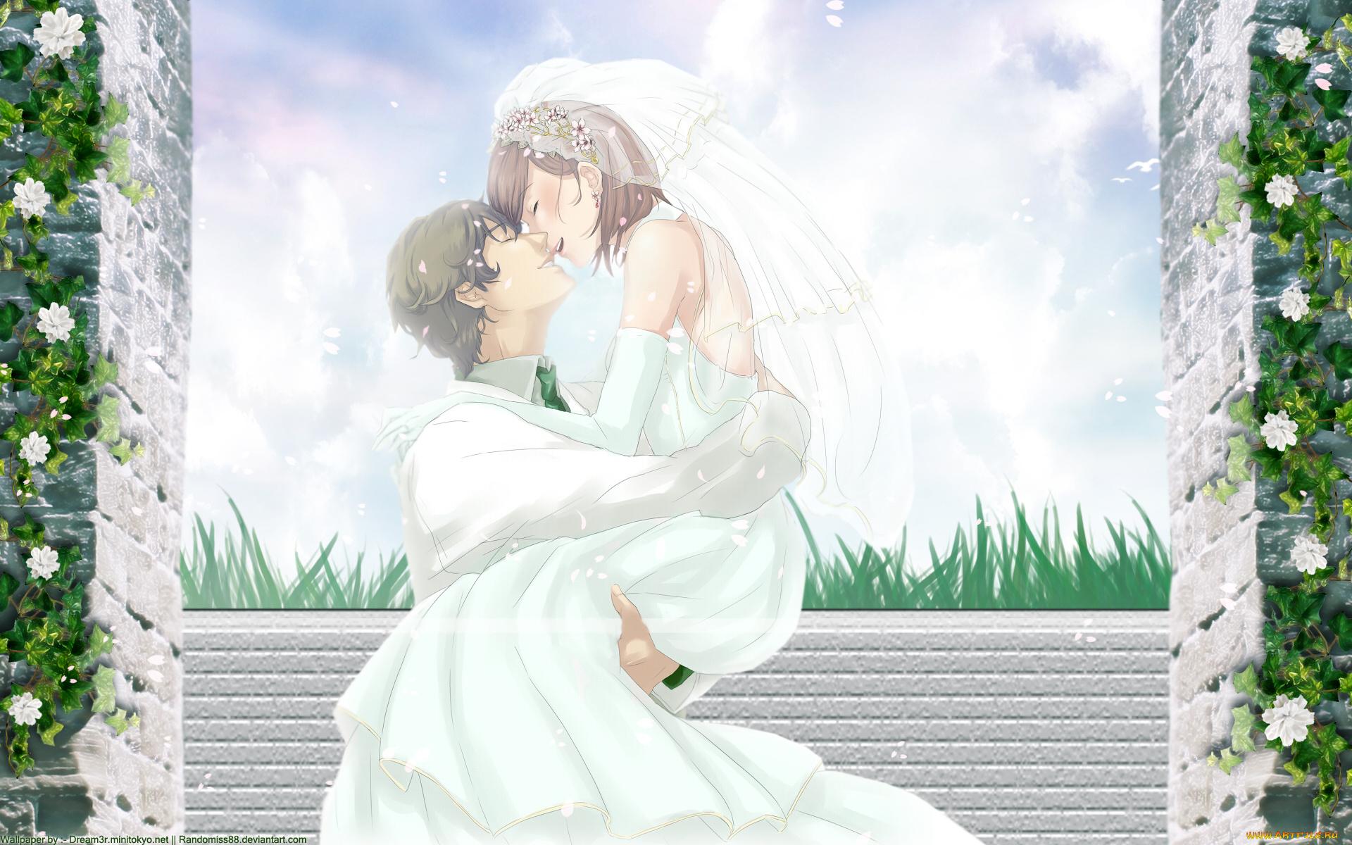 Невеста аниме девушка платье фата загрузить