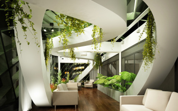 обоя интерьер, гостиная, растения, диван