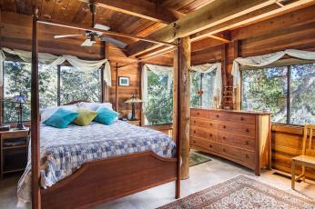 обоя интерьер, спальня, дерево, подушки, кровать, дизайн, комод