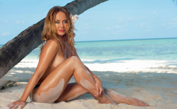 обоя музыка, жанна фриске, пальма, море, пляж, песок, грудь, улыбка, актриса, певица, жанна, фриске
