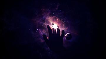 Картинка космос арт рука планеты звезды
