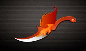 Картинка рисованные минимализм рукоятка оранжевый тёмный фон лезвие нож