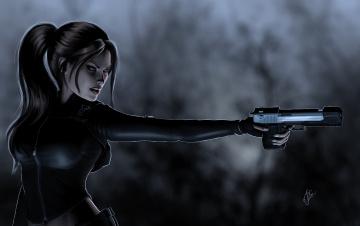 Картинка 3д графика fantasy фантазия девушка оружие