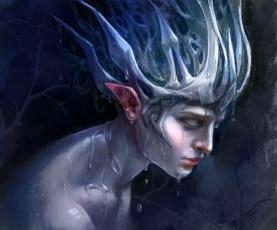 Картинка фэнтези существа капли профиль вода существо эльф фантастика уши