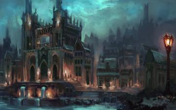 обоя фэнтези, замки, фантастика, арт, город