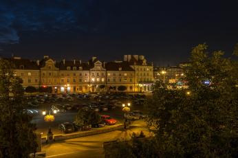 обоя люблин, города, - огни ночного города, вечер, дворец, автомобили