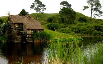 Картинка мельница природа пейзажи река гора деревья