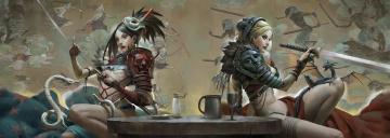 Картинка фэнтези девушки меч арт стол катана дракон воины
