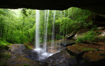 Картинка природа водопады водопад лес пещера камни