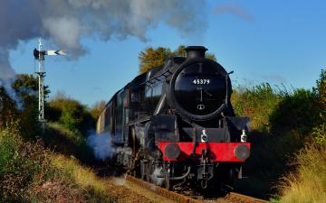 Картинка техника паровозы пассажирский состав вагоны железная дорога рельсы паровоз