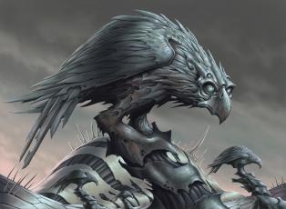 Картинка ворон фэнтези роботы +киборги +механизмы существа чёрный птица