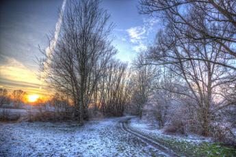 Картинка природа зима рассвет