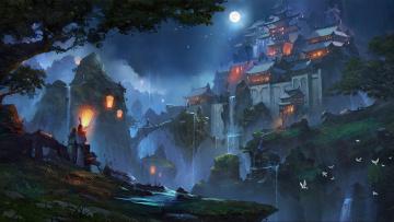 обоя фэнтези, замки, zudarts, город, пара, эльфы