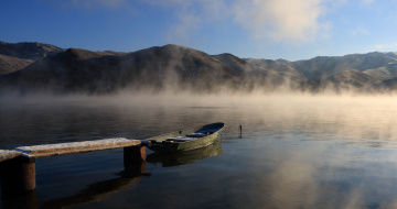 обоя корабли, лодки,  шлюпки, озеро, утро, лодка, туман