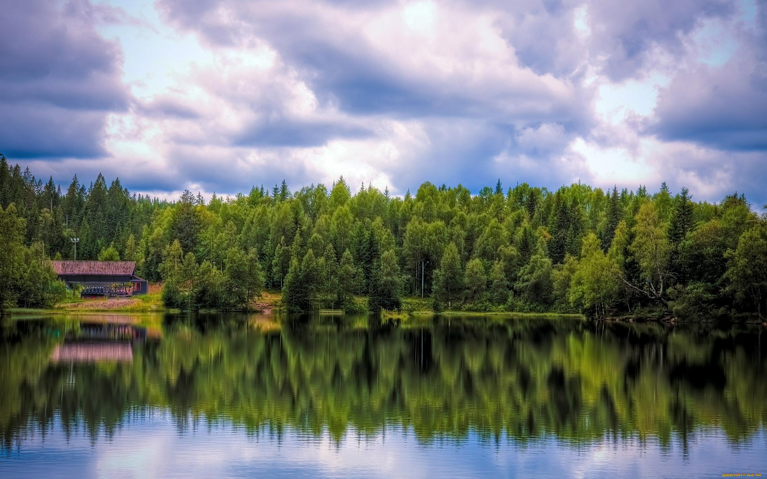 природа озеро дом лес деревья  № 2447929  скачать
