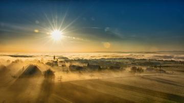 Картинка города -+пейзажи рассвет дома туман