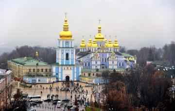 Картинка михайловская площадь города киев украина михайловский златоверхий собор купола