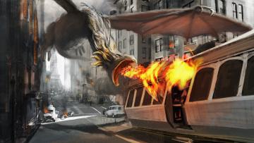 Картинка фэнтези драконы эйфелева башня paris париж улицы трамвай огонь нападение дракон город арт