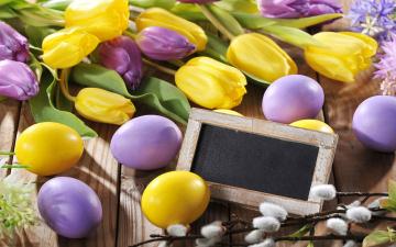 Картинка праздничные пасха spring flowers eggs easter тюльпаны цветы яйца