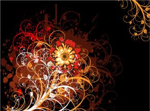 Картинка векторная+графика цветы+ flowers абстракция цветок черный фон узоры