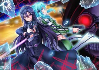 обоя аниме, sword art online, синон, кирито