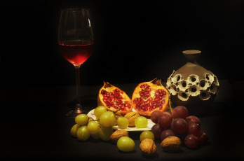 Картинка еда натюрморт вино фрукты
