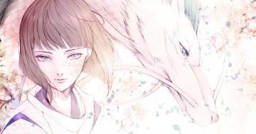 обоя аниме, spirited away, усы, spirited, away, челка, унесенные, призраками, haku, дракон, мальчик, чешуя