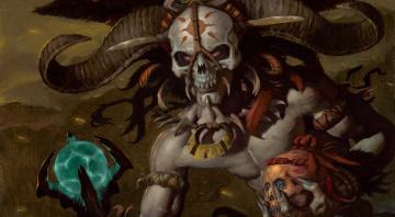 обоя фэнтези, нежить, череп, кости, глаза, рога, маска, демон
